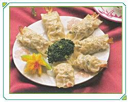凤尾虾腐皮饺子