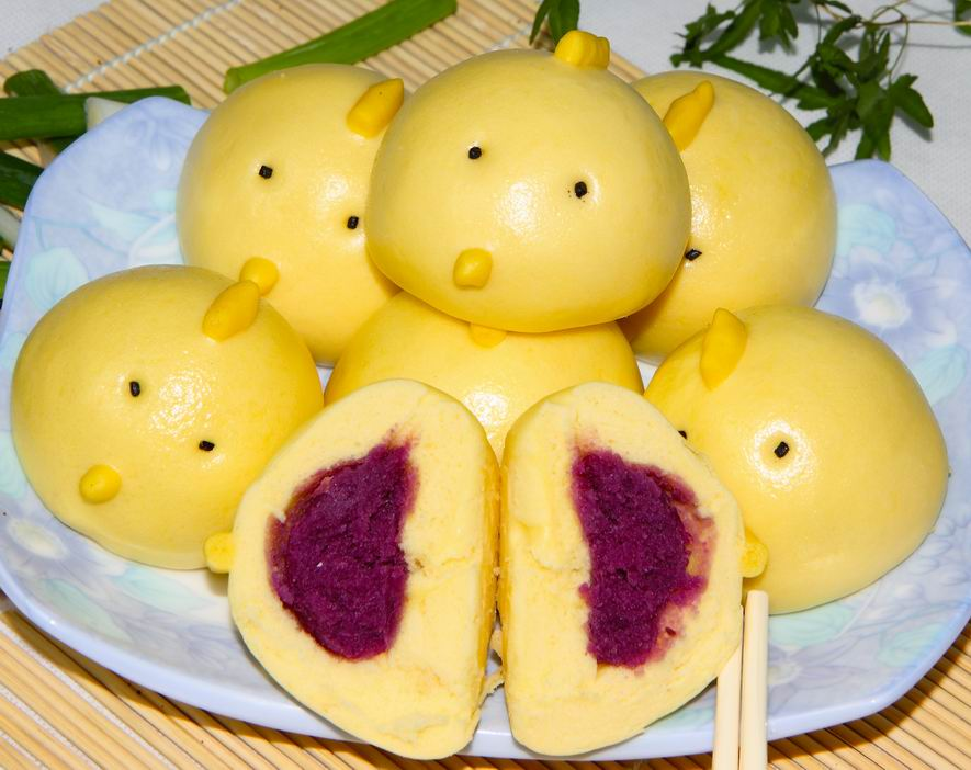 鸡仔紫薯包